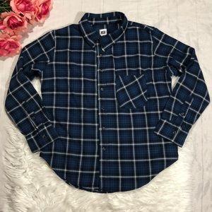 NSF Blue Flannel Plaid Button Down Top